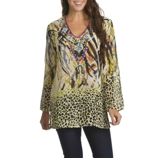 Chelsea & Theodore Women's Multicolor Printed/Embroidered/Sequinned Tunic Top