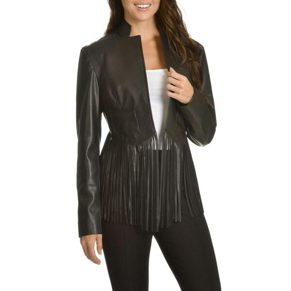 Chelsea & Theodore Women's Fringed Hem Faux Leather Jacket
