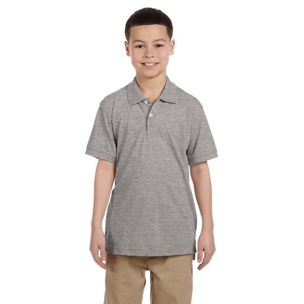 Easy Blend Boys Heather Grey Polo Shirt