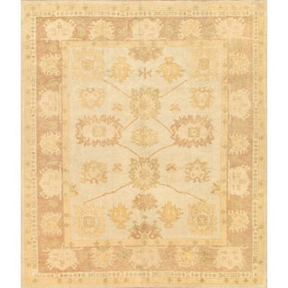 Pasargad Turkish Oushak Hand-knotted L.blue-l.brown Wool Rug (9' x 12')