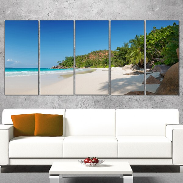 Anse Georgette Beach Light Blue - Large Seascape Art Canvas Print