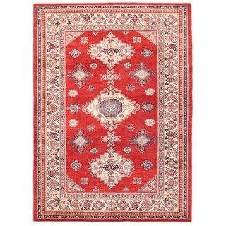 Pasargad Tribal Kazak Hand-knotted Rust-ivory Wool Rug (7' x 9')