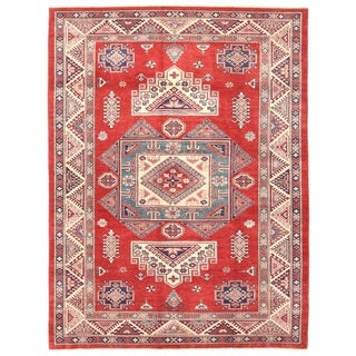 Pasargad Caucasian Kazak Hand-knotted Rust-ivory Wool Area Rug (7' x 9')