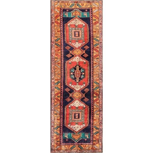 Vintage Persian Ardabill Navy-orange Wool Runner Rug (3' 10 x 11' )
