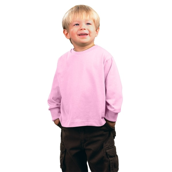 Boys' Pink Cotton Jersey Long-sleeved T-Shirt
