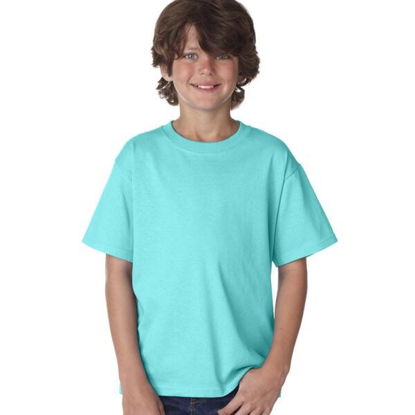 Fruit Of The Loom Boys' Scuba Blue Heavy Cotton Heather T-Shirt