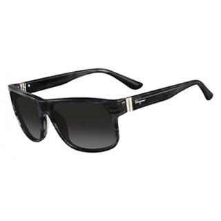 Salvatore Ferragamo Striped Grey Sunglasses