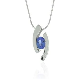 Suzy Levian Modern 14k White Gold 7/8ct Tanzanite and Diamond Accent Birthstone Pendant