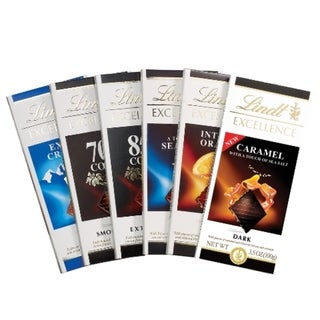 Lindt Excellence Assorted Chocolate Bar Collection (Pack of 6)