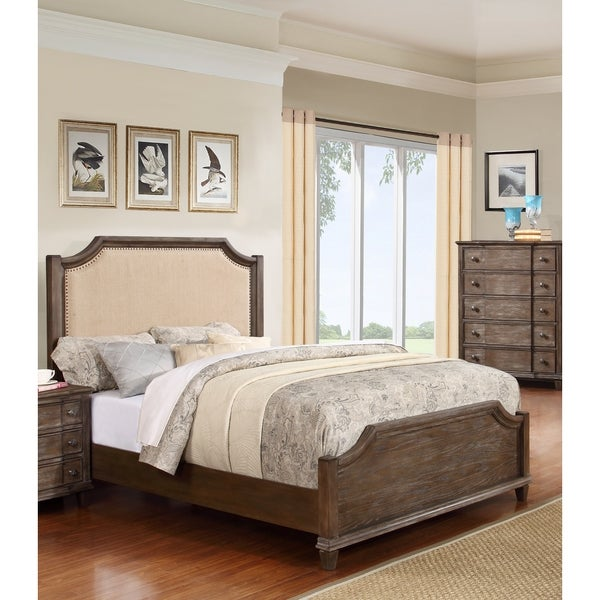 LYKE Home Enzo Brown Wood Bed