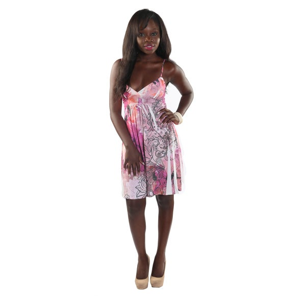 Hadari Womans V-Neck Spaghetti Strap Empire Draw String Pink Flower Print Dress