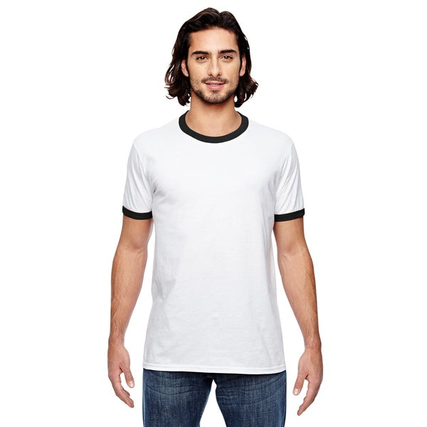 Trim Fit Men's White/Black Cotton/Polyester T-shirt Jersey