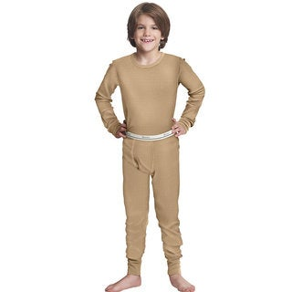 X-Temp Boys' Natural Cotton and Polyester Thermal Set