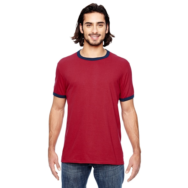 Trim Fit Men's Indigo Red and Navy Cotton and Polyester Jersey T-shirt