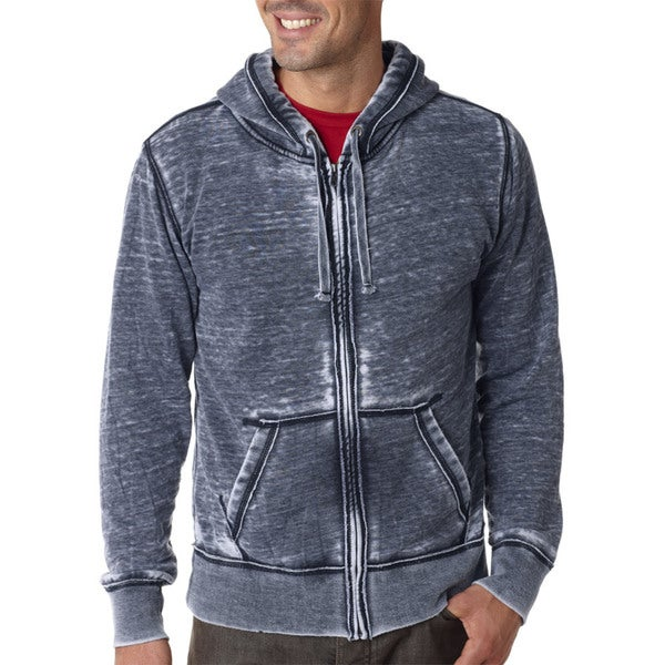 Vintage Zen Men's Navy Full-zip Fleece Hoodie