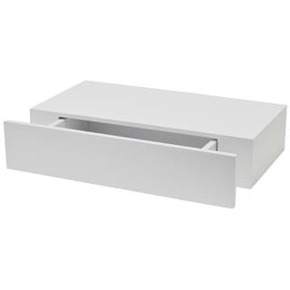 White 9-7/8-inch x 19-inch Shelf with Drawer