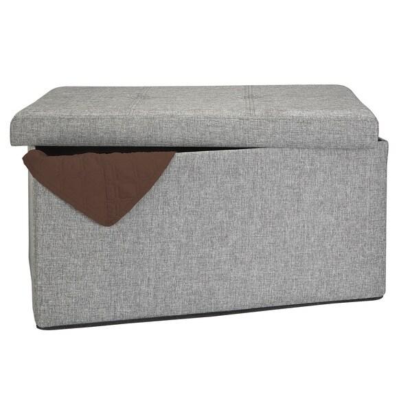 Simplify Grey Linen Look Double Foldable Ottoman
