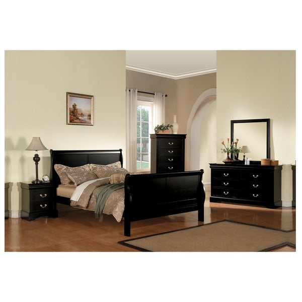 Black Louis Philippe III Wooden Sleigh Bed
