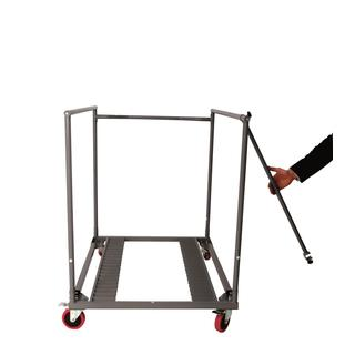 COSCO Commercial Heavy Duty Round Grey Folding Table Trolley Cart with Locking Wheels