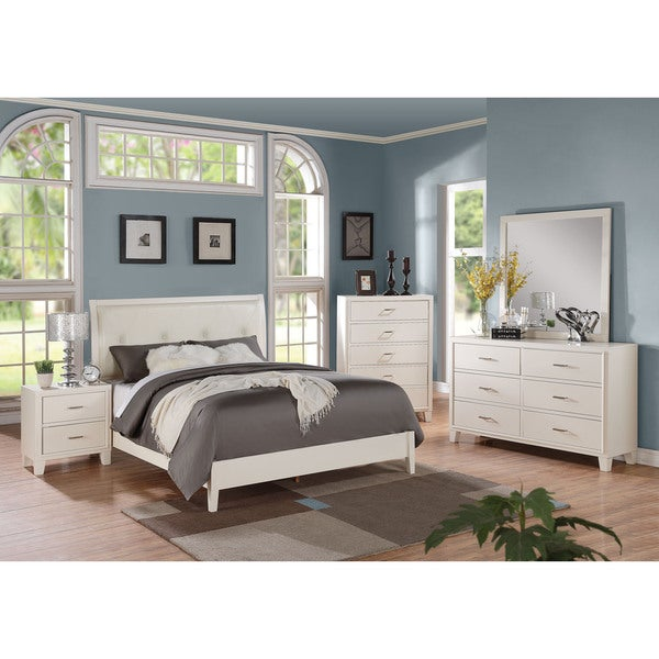 Tyler White Wood and Faux Leather Bed
