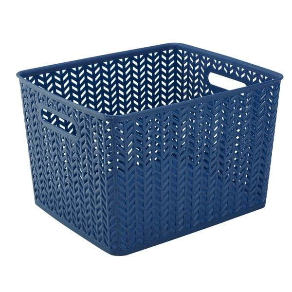 Simplify Navy Herringbone Large Storage Tote