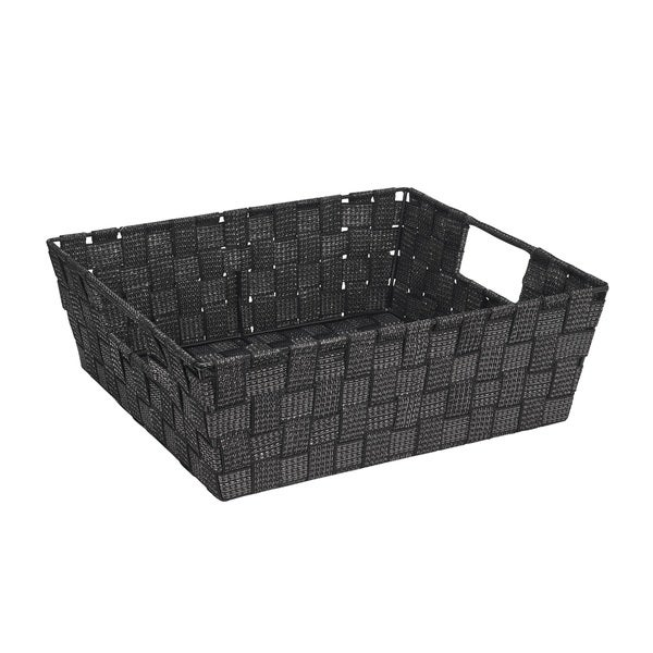 Simplify Large Black/ Silver Lurex Striped Woven Strap Shelf Tote