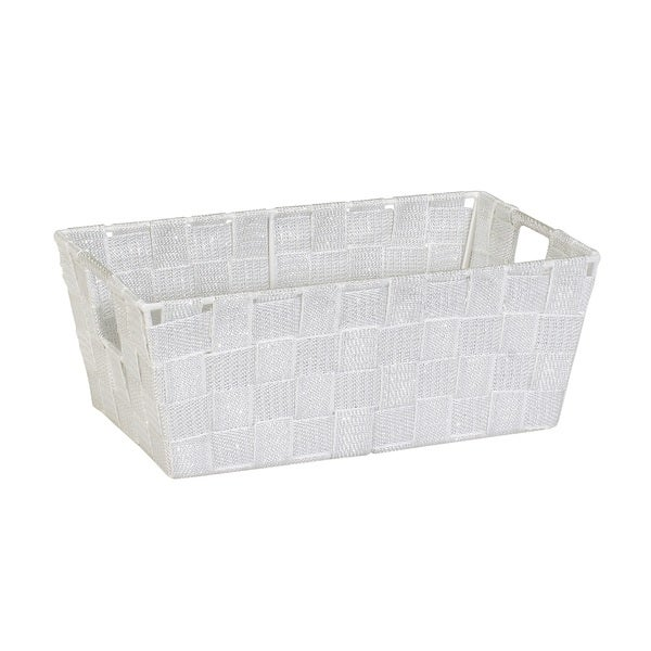Simplify White/Silver Lurex Striped Woven-strap Small Shelf Tote
