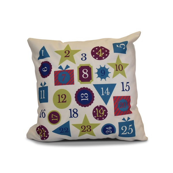 16 x 16-inch, Advent Calendar, Geometric Holiday Print Pillow