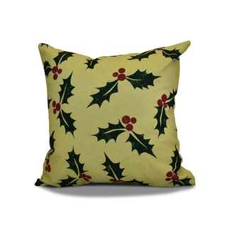 16 x 16-inch, Allover Holly , Floral Holiday Print Outdoor Pillow