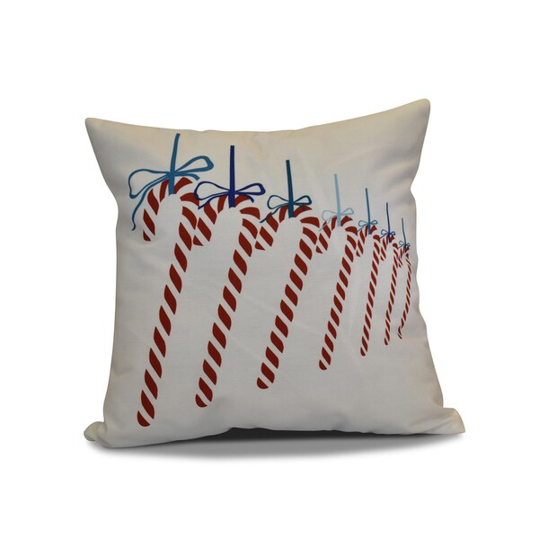 16 x 16-inch, Candy Canes, Geometric Holiday Print Pillow