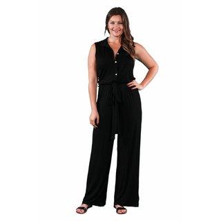 24/7 Comfort Apparel Women's Plus Size Sleeveless Palazzo Jumpsuit