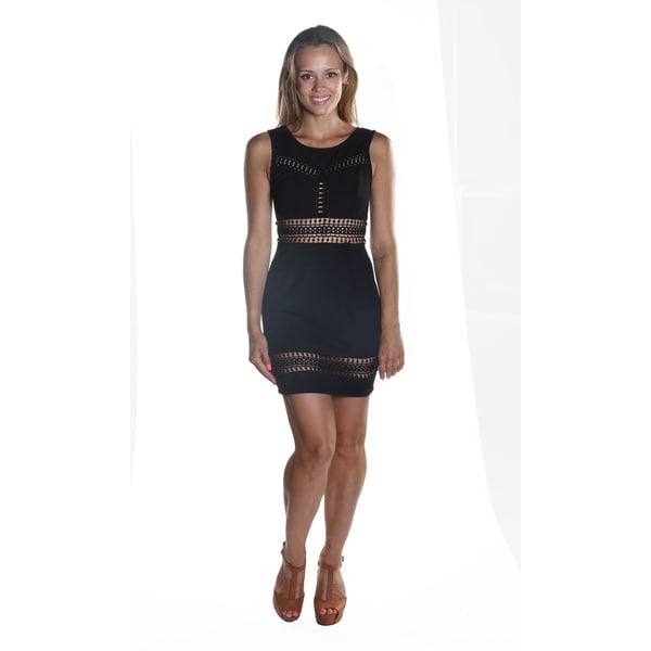 Hadari Women's Sleeveless Round Neckline Lace patterned Midi Black Sheath Dress