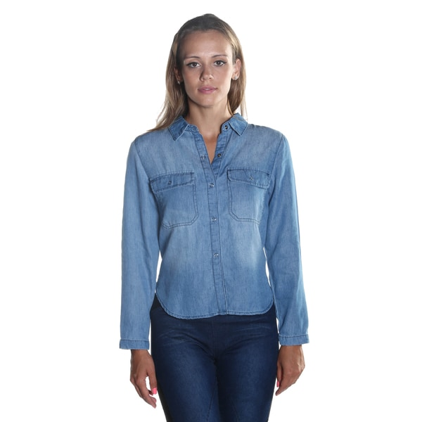 Hadari Women's Wing Collar Long Sleeve Button Down Frontal Pockets Denim Crop Top with Adjustable Back Drawstring