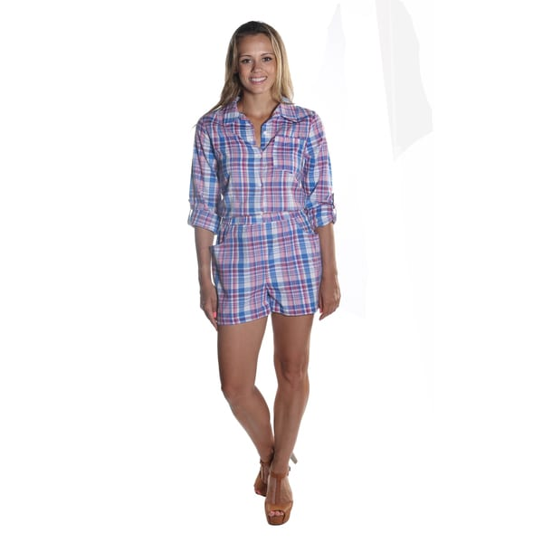 Hadari Women's Pink Full Sleeve Button Down Plaid Short Romper with Elastic Waistline and Frontal Pockets