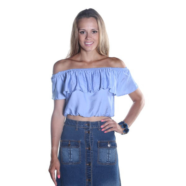 Hadari Women's Blue Off the Shoulder Ruffled Scooped Neckline Crop Top