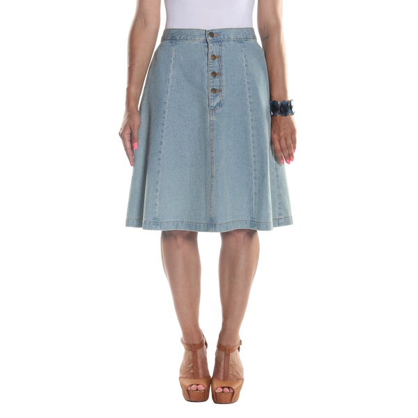 Hadari Women's Midi Panel Buttoned Denim Skirt with Side Pockets