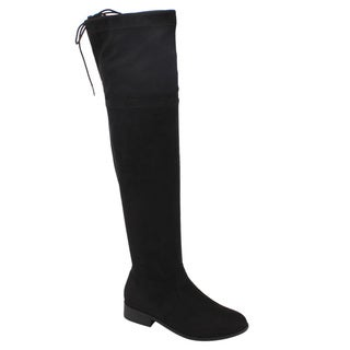 BETANI FD00 Women's Block Heel Drawstring Stretchy Over The Knee Boots