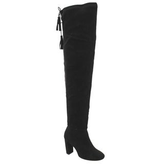 QUPID FC88 Women's Pull On Stretchy Over The Knee Block Heel Boots