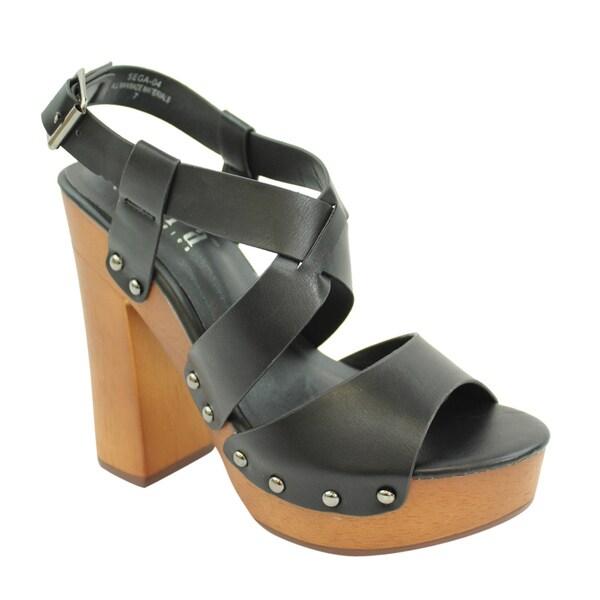 Tiara FC92 Women's Slingback Studded Platform Block Chunky Heel Sandals