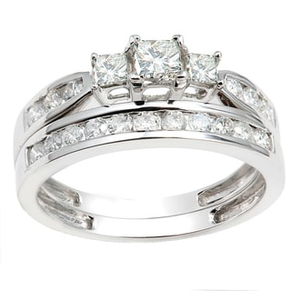 14k White Gold 1ct TDW Princess and Round 3-stone Diamond Bridal Ring Set Engagement Set (H-I, I1-I2)