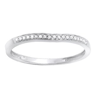 14k White Gold 1/10ct TDW Round Diamond Anniversary Wedding Matching Band Stackable Ring (I-J, I2-I3)