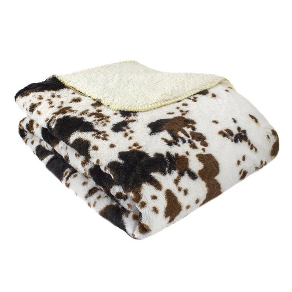 Oversized Luxury Mink Animal Print Throw with Sherpa Back