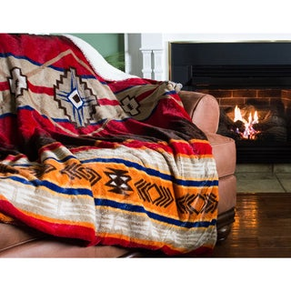 Oversized Southwestern Throw with Sherpa Reverse