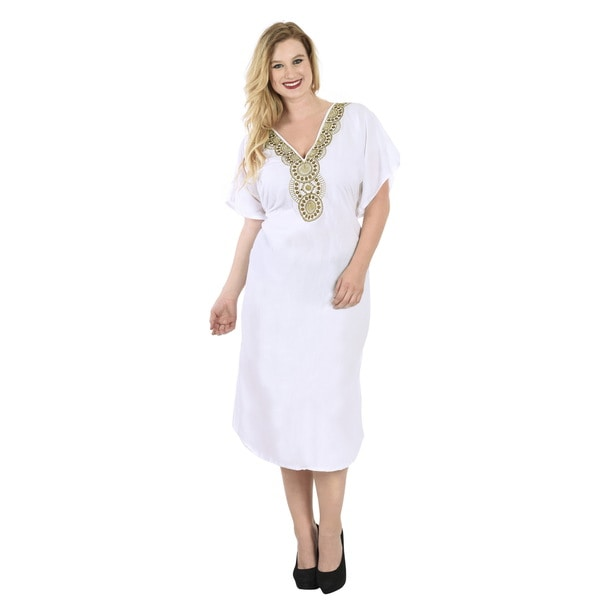 La Leela White Rayon Tunic Embroidered Top Kaftan Dress Women