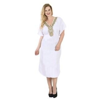 La Leela White Rayon Tunic Embroidered Top Kaftan Dress Women