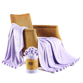 Anna Ricci Soft Velvet Pom Pom Blanket