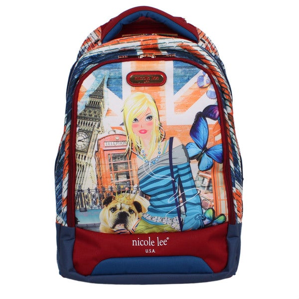 Nicole Lee 20.5-inch Leona London Girl Rolling Laptop Backpack