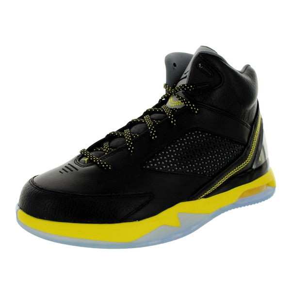 Nike Men's Jordan Air Jordan Flight Remix Black/Vibrant Yellow/Cool Grey Basketball Shoe