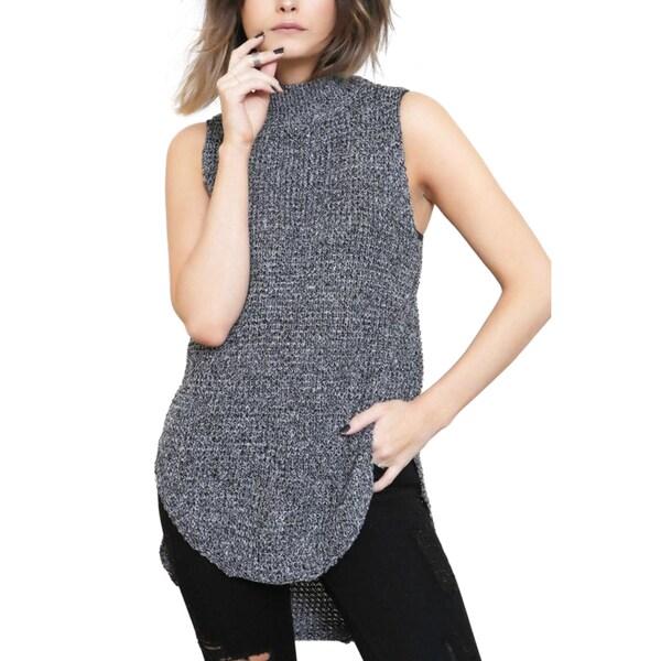 Minipink Bittersweet Black Knit Mock Neck Tunic Sweater