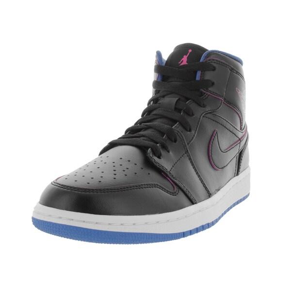 Nike Jordan Men's Air Jordan 1 Mid Black/Fire Pink/Photo Blue Basketball Shoe